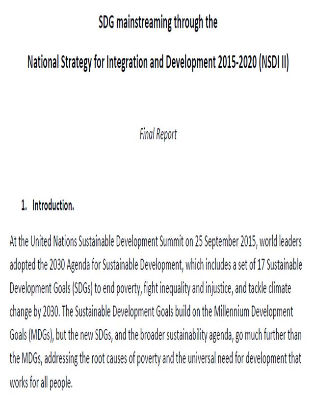 SDG mainstreaming through the National Strategy for Integration and Development 2015-2020 (NSDI II)